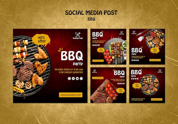 Bbq concept soial media post