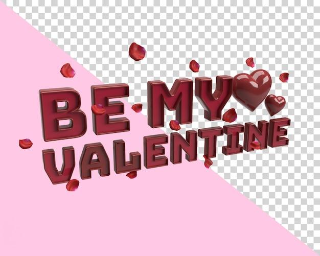 Be my valentine 3d renderowanie tekstu z przezroczystym tłem z sercem i płatkami