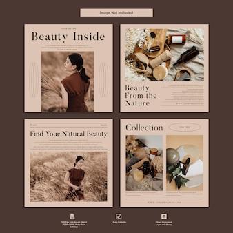 Beauty and calm fashion instagram szablon pakietu social media design