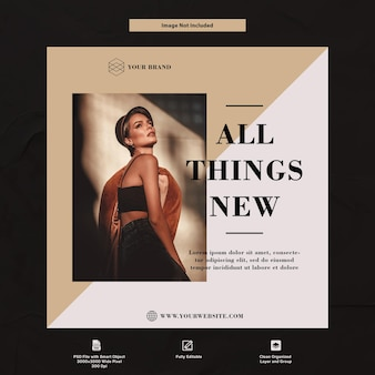 Beauty and luxury fashion instagram szablon mediów społecznościowych premium