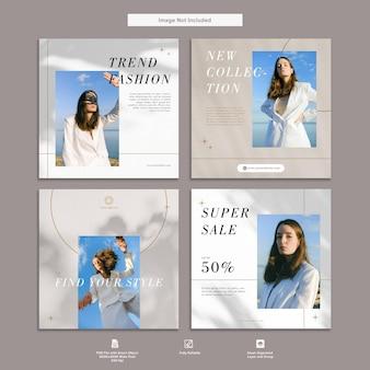 Beauty and modern fashion instagram szablon pakietu social media design