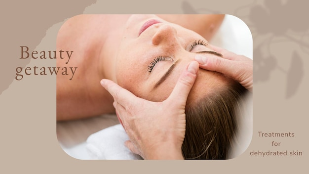 Beauty ucieczka wellness szablon psd / wektor z tłem masażu twarzy