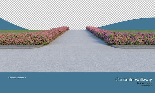 Betonowe chodniki i szeroka gama krzewów