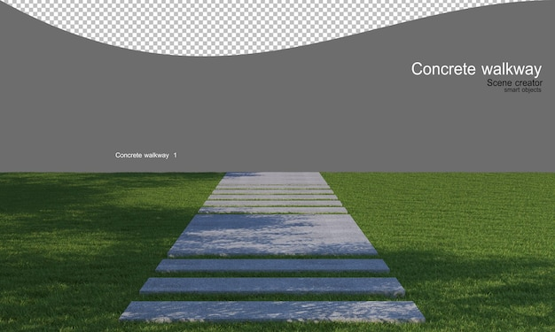 Betonowy chodnik na trawniku