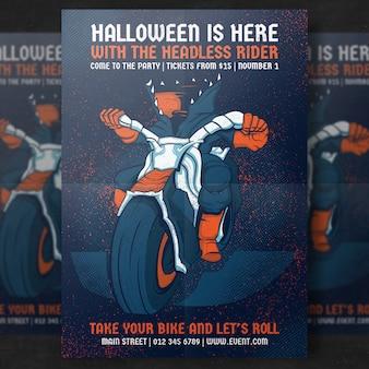 Bezgłowy jeździec szablon Halloween Party Flyer
