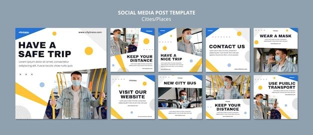 Bezpieczna podróż szablon postu w mediach społecznościowych