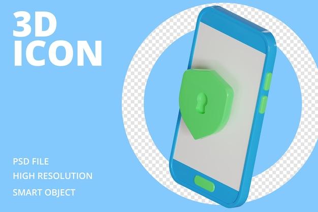 Bezpieczny telefon z ikoną 3d