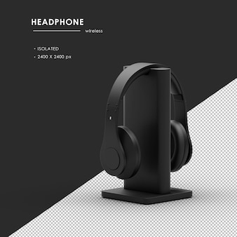 Bezprzewodowe słuchawki ze stacją ładującą renderowanie z lewego tylnego widoku