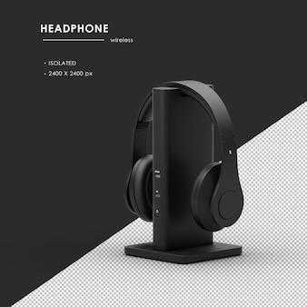 Bezprzewodowe słuchawki ze stacją ładującą z renderowania z lewej strony z przodu