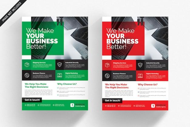 Biała biznesowa ulotka z czerwonymi i zielonymi detalami