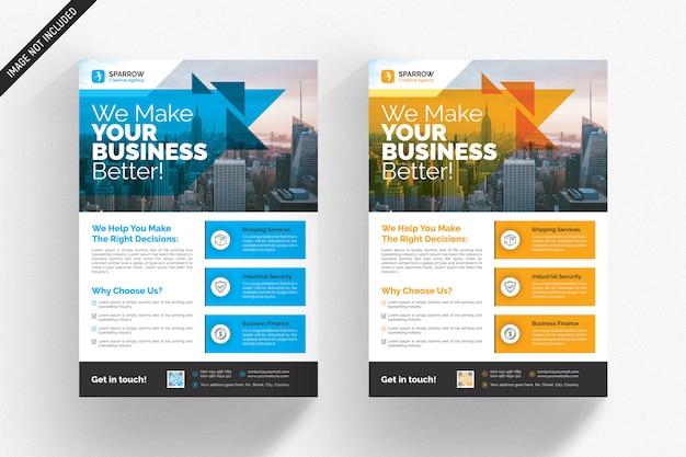 Biała biznesowa ulotka z niebieskimi i pomarańczowymi detalami