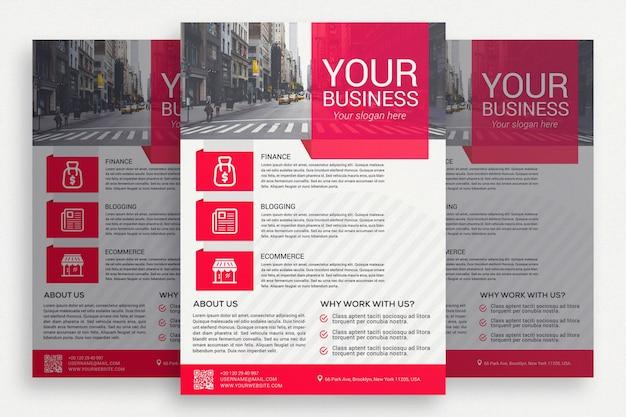 Biała broszura biznesowa z różowymi detalami