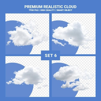 Biała chmura realistyczny zestaw do błękitnego nieba