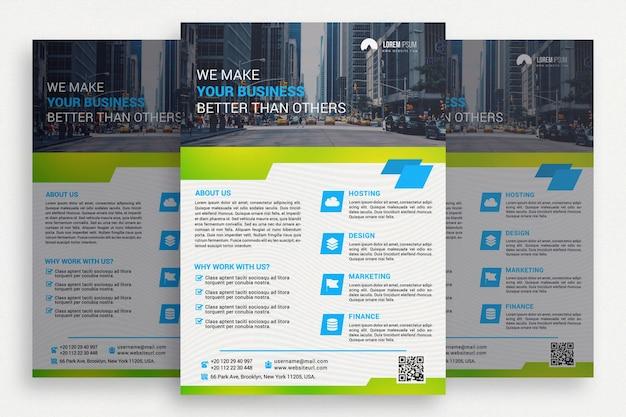 Biała i zielona broszura biznesowa