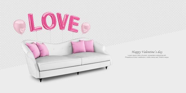 Biała kanapa i balony w renderowaniu 3d