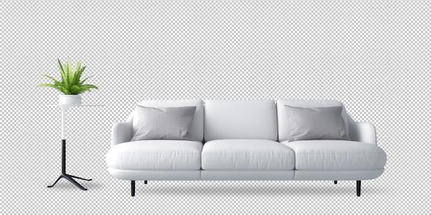 Biała kanapa i roślina w 3d renderingu