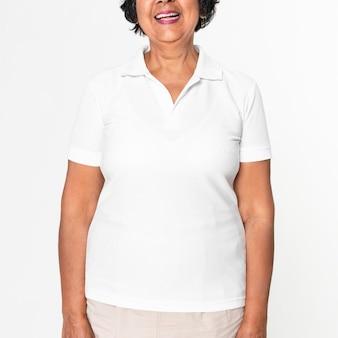 Biała koszulka polo makieta psd casual odzież damska