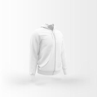 Biała kurtka unosząca się na białym tle