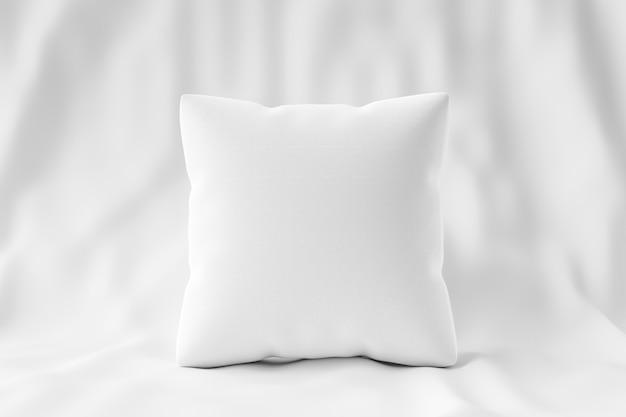 Biała poduszka i kwadratowy kształt na tle tkaniny z pustym szablonem. makieta poduszki do projektowania. renderowanie 3d.