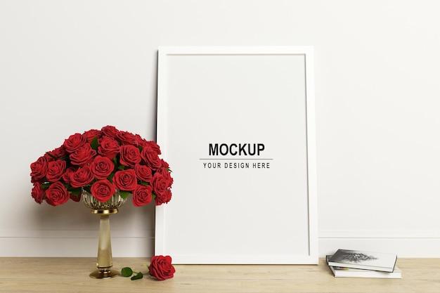 Biała ramka na zdjęcia i makieta róż w renderowaniu 3d