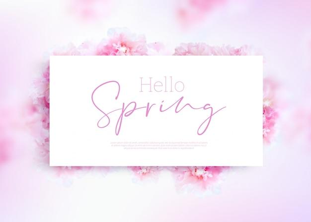 Biała ramka witaj transparent wiosny
