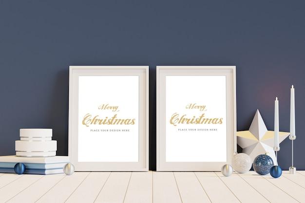Biała ramka z makietą dekoracji świątecznych