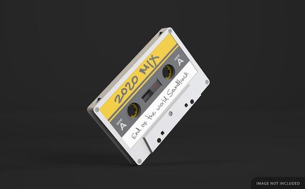 Biała retro kaseta magnetofonowa makieta z etykietą