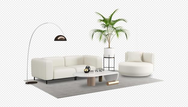 Biała sofa i mocku roślin w renderowaniu 3d