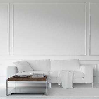 Biała sofa i stół