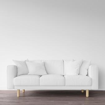 Biała sofa na drewnianej podłodze