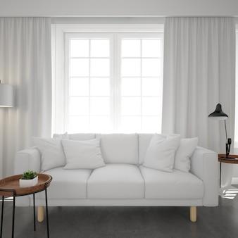 Biała sofa pod oknem