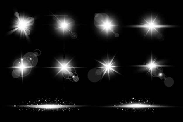 Biała świecąca flara obiektywu abstrakcyjna kolekcja światła
