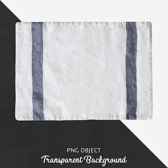 Biała tkanina z niebieską linią na przezroczystym tle