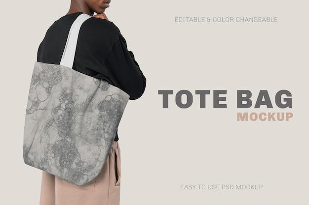 Biała torba psd makieta z letnimi wibracjami typografia moda s