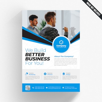 Biała ulotka biznes z niebieskimi detalami