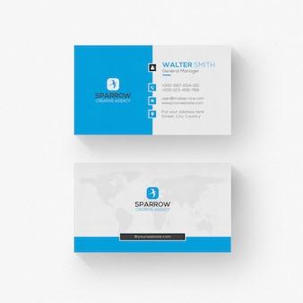Biała wizytówka o niebieskich kształtach