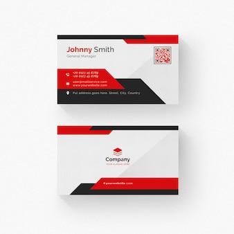 Biała wizytówka z czarnymi i czerwonymi szczegółami