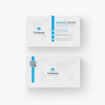 Biała wizytówka z niebieskimi detalami
