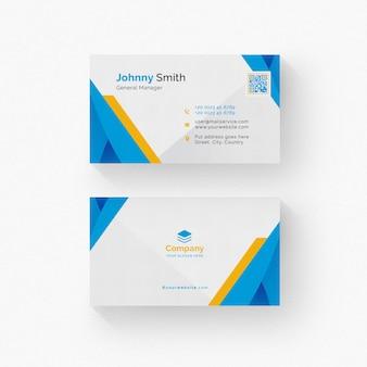 Biała wizytówka z żółtymi i niebieskimi detalami