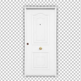 Białe drzwi na białym tle