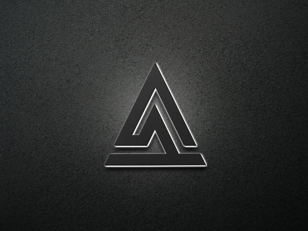Białe neonowe logo 3d mokup ciemne tło