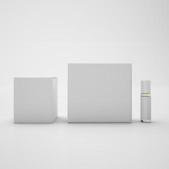 Białe opakowania i metalowa butelka