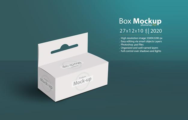 Białe pudełko 3d z wieszakiem na ziemi