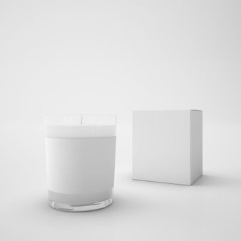 Białe pudełko i świeca