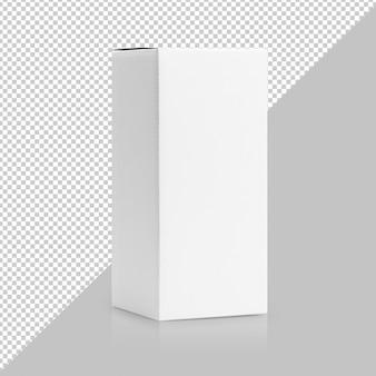 Białe pudełko w wysokim kształcie, pakowane w makietę z boku