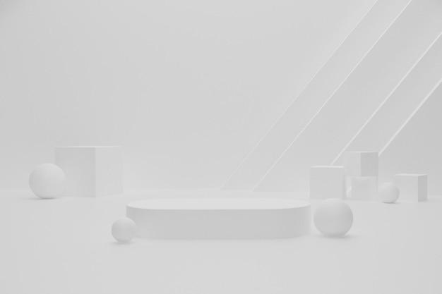 Białe puste 3d renderowane podium