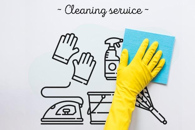 Białe tło usługi sprzątania