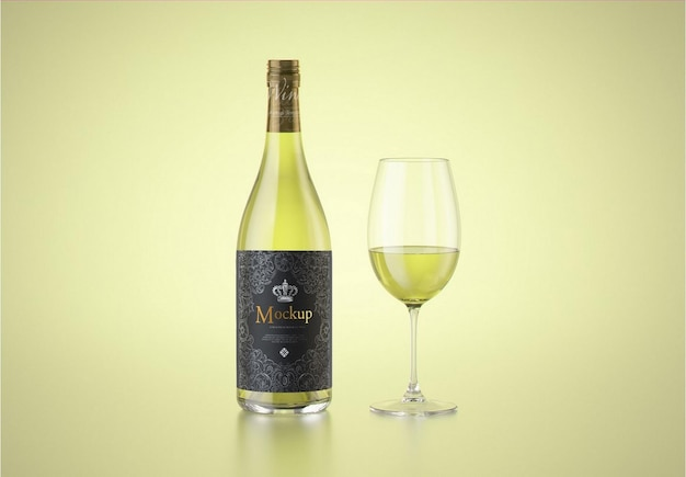 Białe wino z makietą szklanej butelki