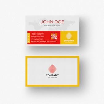 Białe wizytówki z żółtym i czerwonym szczegółów