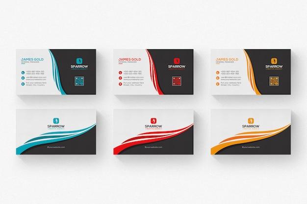 Biało-czarna wizytówka z czerwonymi i pomarańczowymi detalami